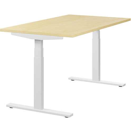 LEAP Electric Height Adjustable Sit Stand Desk Plain Top W1400xD800xH655-1255mm Maple Top White Frame