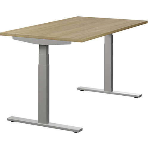 LEAP Electric Height Adjustable Sit Stand Desk Plain Top W1400xD800xH655-1255mm Urban Oak Top Silver Frame