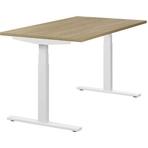 LEAP Electric Height Adjustable Sit Stand Desk Plain Top W1400xD800xH655-1255mm Urban Oak Top White Frame