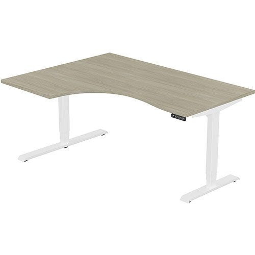 LEAP Electric Height Adjustable Radial Left Hand Sit Stand Desk Plain Top W1600xD1200/800xH620-1270mm Arctic Oak Top White Frame. Prevents &Reduces Muscle &Back Problems, Heart Risks &Increases Brain Activity.