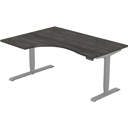 LEAP Electric Height Adjustable Radial Left Hand Sit Stand Desk Plain Top W1600xD1200/800xH620-1270mm Carbon Walnut Top Silver Frame. Prevents &Reduces Muscle &Back Problems, Heart Risks &Increases Brain Activity.