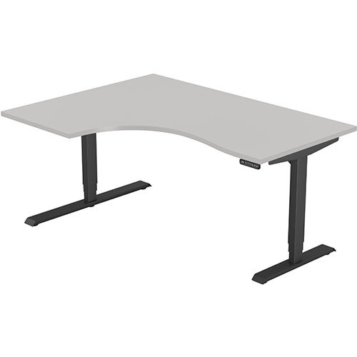 LEAP Electric Height Adjustable Radial Left Hand Sit Stand Desk Plain Top W1600xD1200/800xH620-1270mm Grey Top Black Frame. Prevents &Reduces Muscle &Back Problems, Heart Risks &Increases Brain Activity.