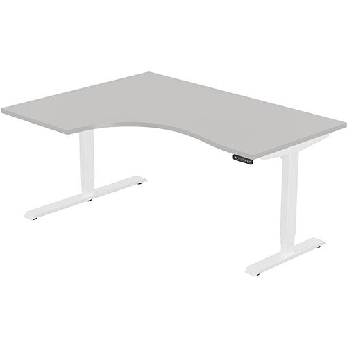 LEAP Electric Height Adjustable Radial Left Hand Sit Stand Desk Plain Top W1600xD1200/800xH620-1270mm Grey Top White Frame. Prevents &Reduces Muscle &Back Problems, Heart Risks &Increases Brain Activity.