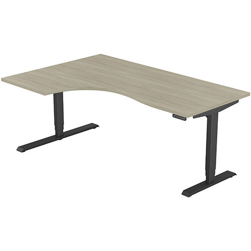 LEAP Electric Height Adjustable Radial Left Hand Sit Stand Desk Plain Top W1800xD1200/800xH620-1270mm Arctic Oak Top Black Frame. Prevents &Reduces Muscle &Back Problems, Heart Risks &Increases Brain Activity.