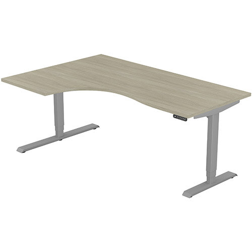 LEAP Electric Height Adjustable Radial Left Hand Sit Stand Desk Plain Top W1800xD1200/800xH620-1270mm Arctic Oak Top Silver Frame. Prevents &Reduces Muscle &Back Problems, Heart Risks &Increases Brain Activity.