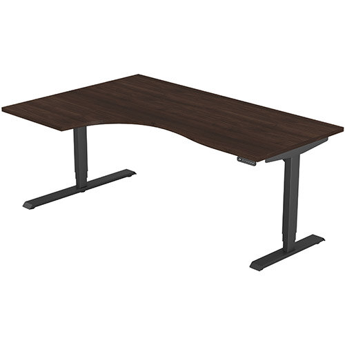 LEAP Electric Height Adjustable Radial Left Hand Sit Stand Desk Plain Top W1800xD1200/800xH620-1270mm Dark Walnut Top Black Frame. Prevents &Reduces Muscle &Back Problems, Heart Risks &Increases Brain Activity.