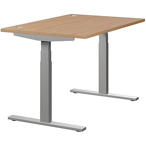 LEAP Electric Height Adjustable Rectangular Sit Stand Desk Portal Top W1200xD800xH620-1270mm Beech Top Silver Frame. Prevents &Reduces Muscle &Back Problems, Heart Risks &Increases Brain Activity.