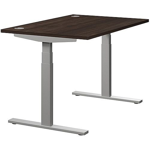 LEAP Electric Height Adjustable Rectangular Sit Stand Desk Portal Top W1200xD800xH620-1270mm Dark Walnut Top Silver Frame. Prevents &Reduces Muscle &Back Problems, Heart Risks &Increases Brain Activity.