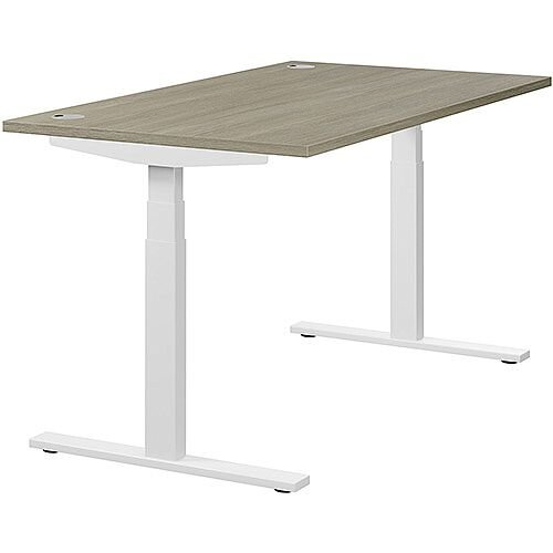 LEAP Electric Height Adjustable Rectangular Sit Stand Desk Portal Top W1400xD800xH620-1270mm Arctic Oak Top White Frame. Prevents &Reduces Muscle &Back Problems, Heart Risks &Increases Brain Activity.