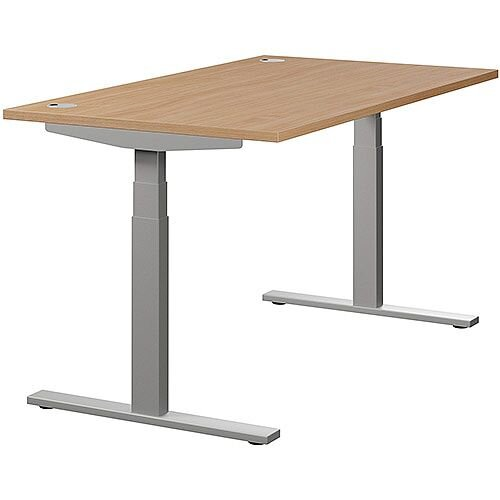LEAP Electric Height Adjustable Rectangular Sit Stand Desk Portal Top W1400xD800xH620-1270mm Beech Top Silver Frame. Prevents &Reduces Muscle &Back Problems, Heart Risks &Increases Brain Activity.