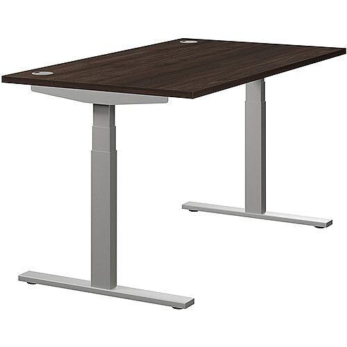 LEAP Electric Height Adjustable Rectangular Sit Stand Desk Portal Top W1400xD800xH620-1270mm Dark Walnut Top Silver Frame. Prevents &Reduces Muscle &Back Problems, Heart Risks &Increases Brain Activity.