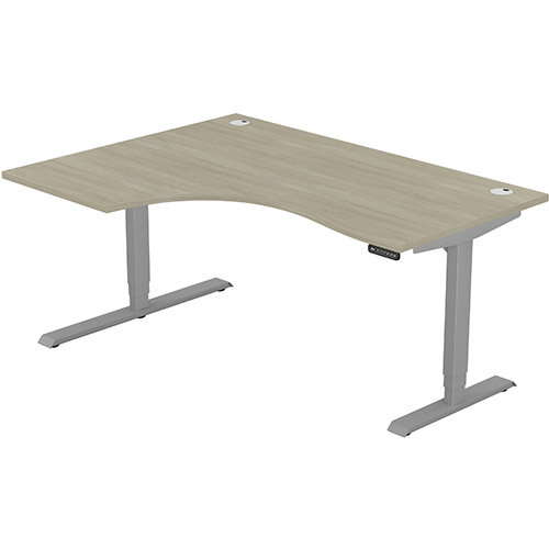 LEAP Electric Height Adjustable Radial Left Hand Sit Stand Desk Portal Top W1600xD1200/800xH620-1270mm Arctic Oak Top Silver Frame. Prevents &Reduces Muscle &Back Problems, Heart Risks &Increases Brain Activity.