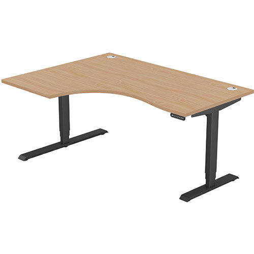 LEAP Electric Height Adjustable Radial Left Hand Sit Stand Desk Portal Top W1600xD1200/800xH620-1270mm Beech Top Black Frame. Prevents &Reduces Muscle &Back Problems, Heart Risks &Increases Brain Activity.
