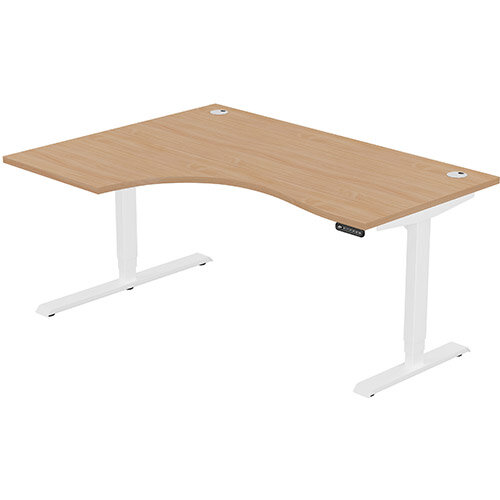 LEAP Electric Height Adjustable Radial Left Hand Sit Stand Desk Portal Top W1600xD1200/800xH620-1270mm Beech Top White Frame. Prevents &Reduces Muscle &Back Problems, Heart Risks &Increases Brain Activity.