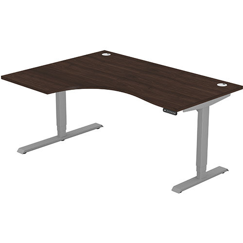 LEAP Electric Height Adjustable Radial Left Hand Sit Stand Desk Portal Top W1600xD1200/800xH620-1270mm Dark Walnut Top Silver Frame. Prevents &Reduces Muscle &Back Problems, Heart Risks &Increases Brain Activity.