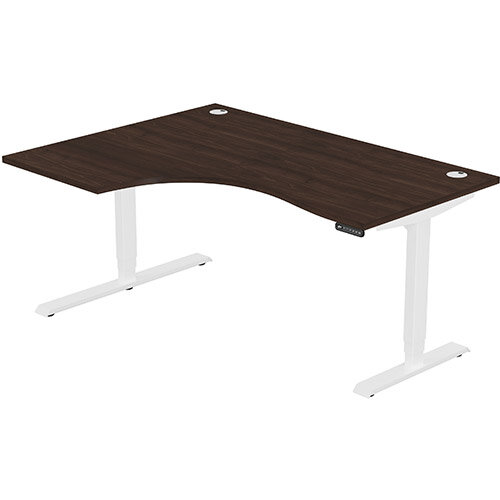 LEAP Electric Height Adjustable Radial Left Hand Sit Stand Desk Portal Top W1600xD1200/800xH620-1270mm Dark Walnut Top White Frame. Prevents &Reduces Muscle &Back Problems, Heart Risks &Increases Brain Activity.
