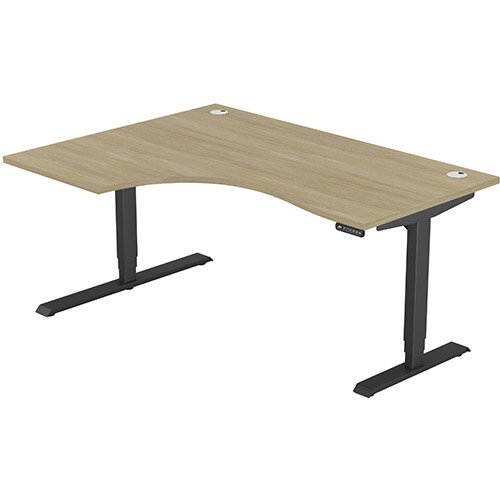 LEAP Electric Height Adjustable Radial Left Hand Sit Stand Desk Portal Top W1600xD1200/800xH620-1270mm Urban Oak Top Black Frame. Prevents &Reduces Muscle &Back Problems, Heart Risks &Increases Brain Activity.