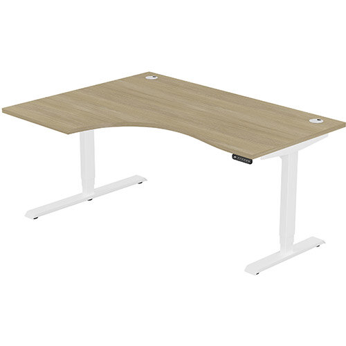 LEAP Electric Height Adjustable Radial Left Hand Sit Stand Desk Portal Top W1600xD1200/800xH620-1270mm Urban Oak Top White Frame. Prevents &Reduces Muscle &Back Problems, Heart Risks &Increases Brain Activity.