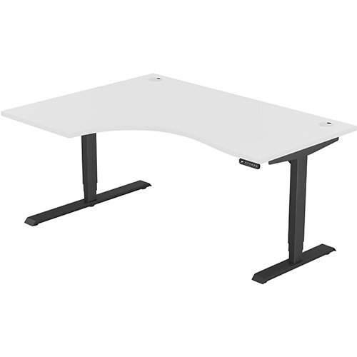 LEAP Electric Height Adjustable Radial Left Hand Sit Stand Desk Portal Top W1600xD1200/800xH620-1270mm White Top Black Frame. Prevents &Reduces Muscle &Back Problems, Heart Risks &Increases Brain Activity.
