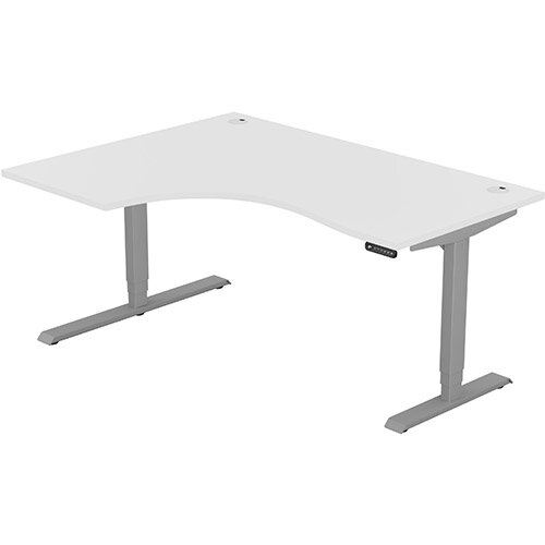 LEAP Electric Height Adjustable Radial Left Hand Sit Stand Desk Portal Top W1600xD1200/800xH620-1270mm White Top Silver Frame. Prevents &Reduces Muscle &Back Problems, Heart Risks &Increases Brain Activity.