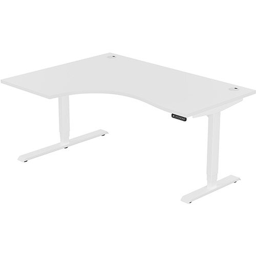 LEAP Electric Height Adjustable Radial Left Hand Sit Stand Desk Portal Top W1600xD1200/800xH620-1270mm White Top White Frame. Prevents &Reduces Muscle &Back Problems, Heart Risks &Increases Brain Activity.