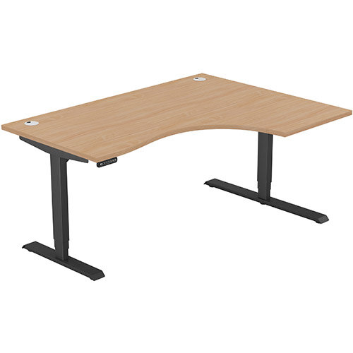 LEAP Electric Height Adjustable Radial Right Hand Sit Stand Desk Portal Top W1600xD1200/800xH620-1270mm Beech Top Black Frame. Prevents &Reduces Muscle &Back Problems, Heart Risks &Increases Brain Activity.