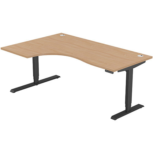 LEAP Electric Height Adjustable Radial Left Hand Sit Stand Desk Portal Top W1800xD1200/800xH620-1270mm Beech Top Black Frame. Prevents &Reduces Muscle &Back Problems, Heart Risks &Increases Brain Activity.