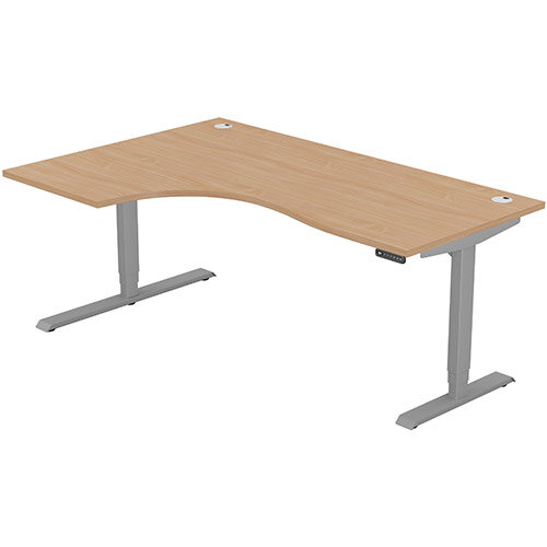 LEAP Electric Height Adjustable Radial Left Hand Sit Stand Desk Portal Top W1800xD1200/800xH620-1270mm Beech Top Silver Frame. Prevents &Reduces Muscle &Back Problems, Heart Risks &Increases Brain Activity.
