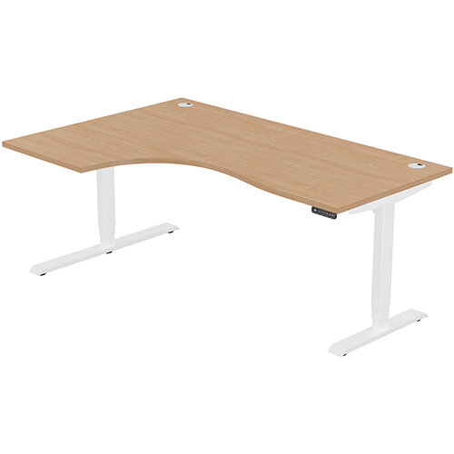 LEAP Electric Height Adjustable Radial Left Hand Sit Stand Desk Portal Top W1800xD1200/800xH620-1270mm Beech Top White Frame. Prevents &Reduces Muscle &Back Problems, Heart Risks &Increases Brain Activity.