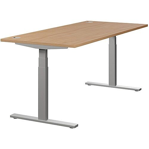 LEAP Electric Height Adjustable Rectangular Sit Stand Desk Portal Top W1800xD800xH620-1270mm Beech Top Silver Frame. Prevents &Reduces Muscle &Back Problems, Heart Risks &Increases Brain Activity.