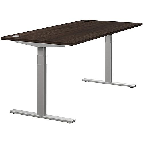 LEAP Electric Height Adjustable Rectangular Sit Stand Desk Portal Top W1800xD800xH620-1270mm Dark Walnut Top Silver Frame. Prevents &Reduces Muscle &Back Problems, Heart Risks &Increases Brain Activity.