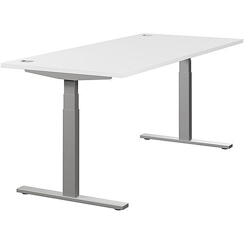 LEAP Electric Height Adjustable Rectangular Sit Stand Desk Portal Top W1800xD800xH620-1270mm White Top Silver Frame. Prevents &Reduces Muscle &Back Problems, Heart Risks &Increases Brain Activity.