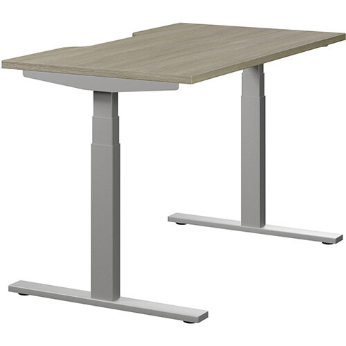 LEAP Electric Height Adjustable Sit Stand Desk Scallop Top W1200xD700xH655-1255mm Arctic Oak Top Silver Frame