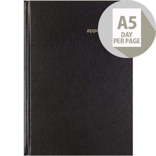 Letts 12X Black A5 Day Per Page Appointment Diary 2020 20-T12XBK