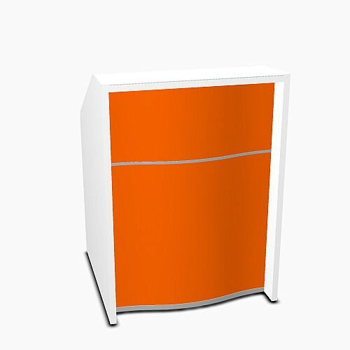Wave Modern Design Small Straight Reception Desk with White Counter Top & High Gloss Orange Front W806xD770xH1103mm