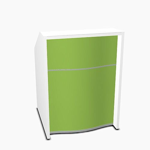 Wave Modern Design Small Straight Reception Desk with White Counter Top &High Gloss Dark Green Front W806xD770xH1103mm