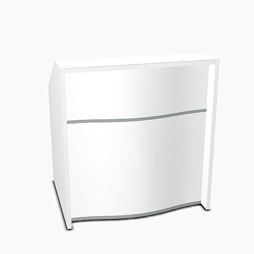 Wave Modern Design Small Straight Reception Desk with White Counter Top &High Gloss White Front W1026xD770xH1103mm