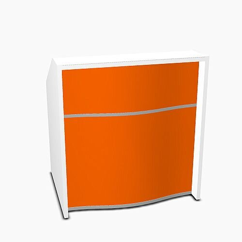 Wave Modern Design Small Straight Reception Desk with White Counter Top &High Gloss Orange Front W1026xD770xH1103mm