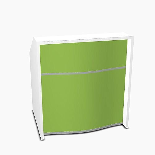 Wave Modern Design Small Straight Reception Desk with White Counter Top &High Gloss Dark Green Front W1026xD770xH1103mm