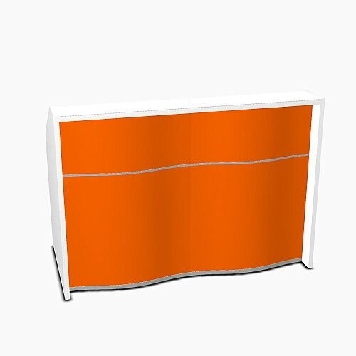 Wave Modern Design Straight Reception Desk with White Counter Top & High Gloss Orange Front W1556xD770xH1103mm