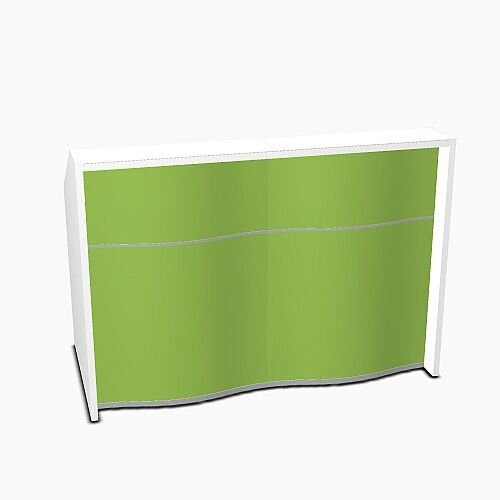 Wave Modern Design Straight Reception Desk with White Counter Top &High Gloss Dark Green Front W1556xD770xH1103mm