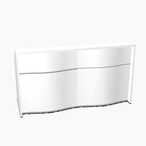 Wave Modern Design Straight Reception Desk with White Counter Top & High Gloss White Front W1996xD770xH1103mm
