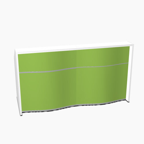 Wave Modern Design Straight Reception Desk with White Counter Top &High Gloss Dark Green Front W1996xD770xH1103mm