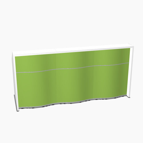 Wave Modern Design Straight Reception Desk with White Counter Top &High Gloss Dark Green Front W2306xD770xH1103mm