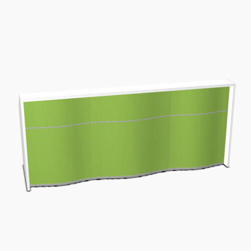 Wave Modern Design Straight Reception Desk with White Counter Top &High Gloss Dark Green Front W2526xD770xH1103mm