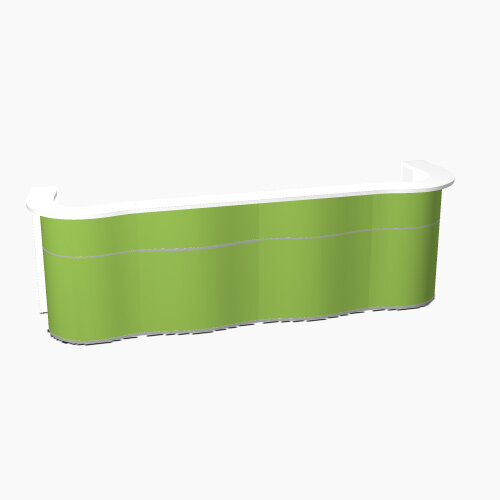 Wave Modern Design Curved Reception Desk with White Counter Top &High Gloss Dark Green Front W3564xD841xH1103mm