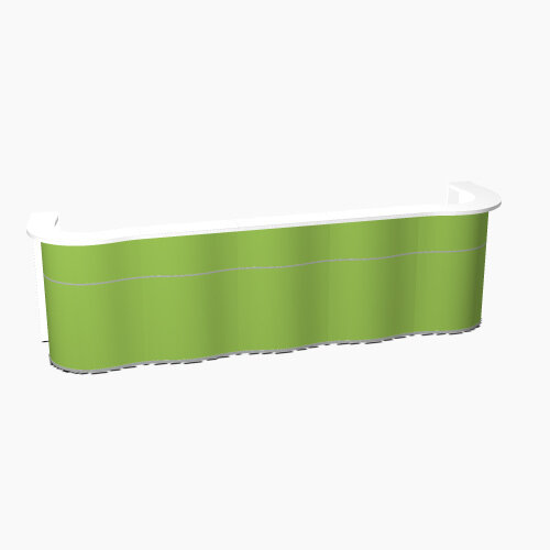 Wave Modern Design Curved Reception Desk with White Counter Top &High Gloss Dark Green Front W3874xD841xH1103mm