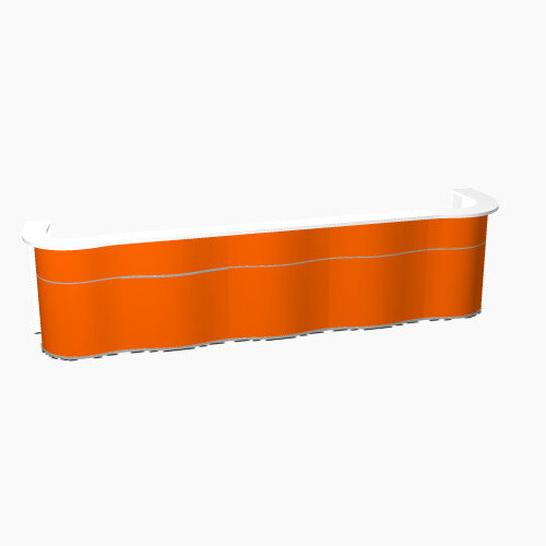 Wave Modern Design Curved Reception Desk with White Counter Top &High Gloss Orange Front W4534xD841xH1103mm