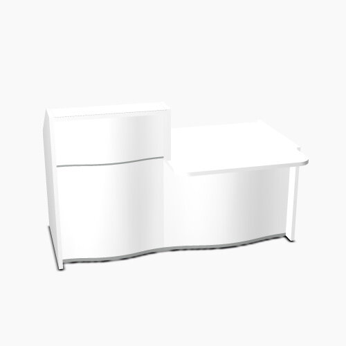 Wave Modern Design Small Straight Reception Desk White Counter Top  with Right Low Level Section &High Gloss White Front W1776xD1034xH1103mm