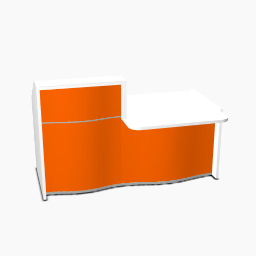 Wave Modern Design Small Straight Reception Desk White Counter Top  with Right Low Level Section &High Gloss Orange Front W1776xD1034xH1103mm